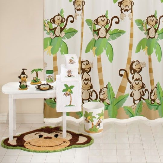 Kids Safari Bathroom Set: Cute For Childs Bathroom..Monkey Town Bath Collection