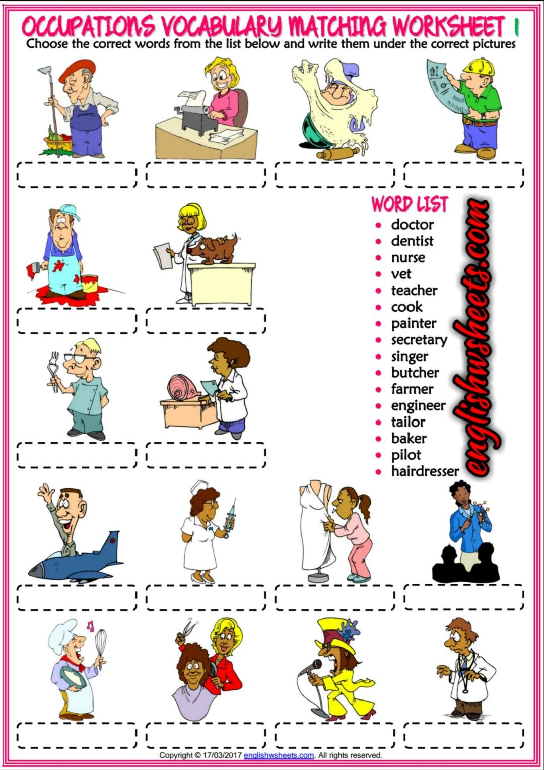 Jobs Occupations Professions Esl Printable Matching