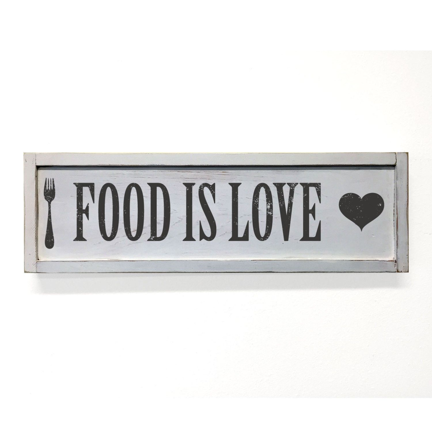 Food is love floater frame wall art sign white x new house