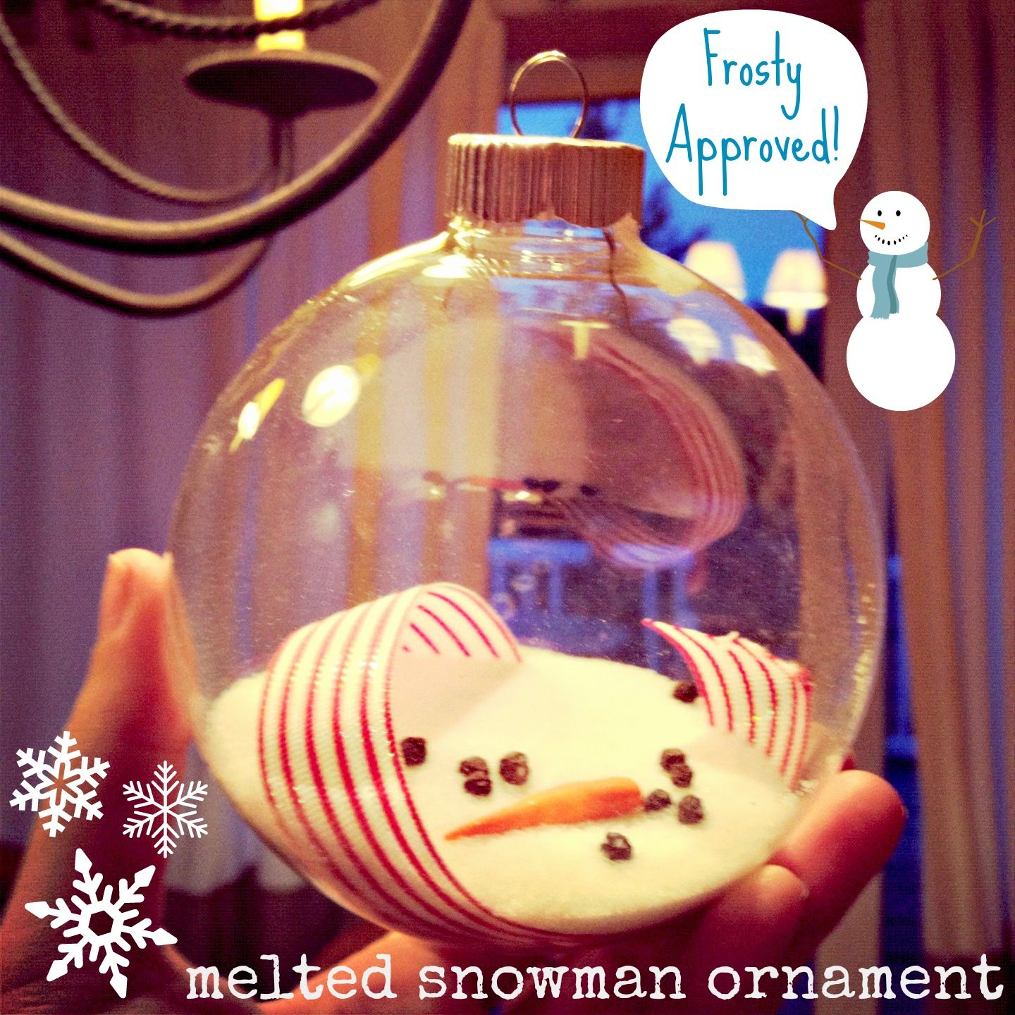 DIY Melted Snowman Ornament, super easy, inexpensive and