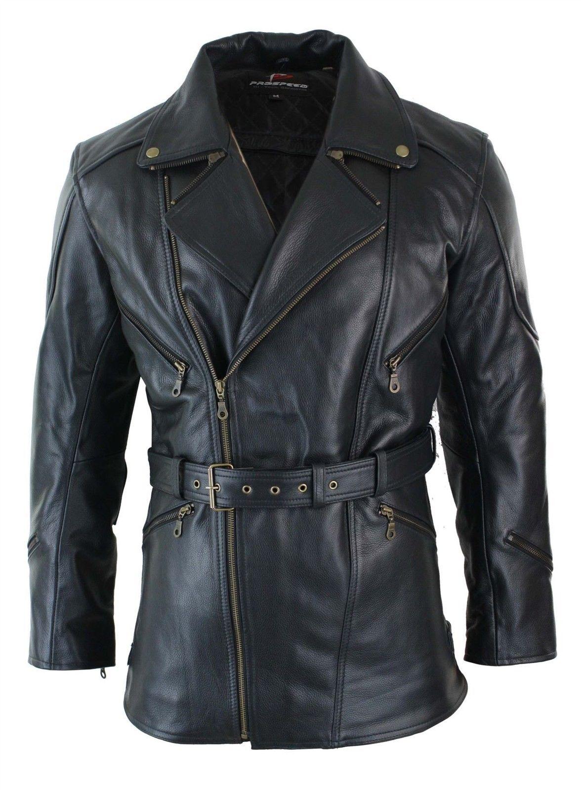 9604449d178 Mens Cross Zip Belted Black 3/4 Motorcycle Biker Long Leather Jacket CE  Armour   eBay