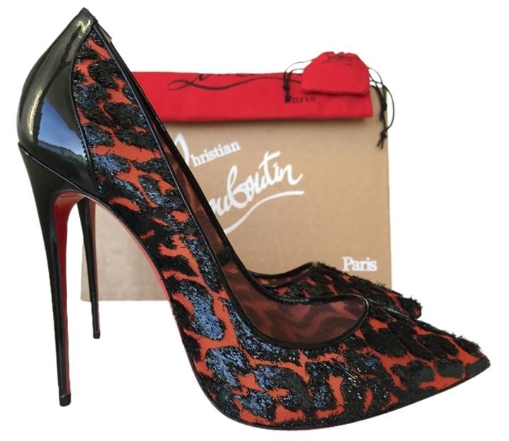 5928fe0e3791 Christian Louboutin 120mm Black Patent Leather Red Mesh Leopard Print Size  42 So Kate BLACK RED Pumps on Sale