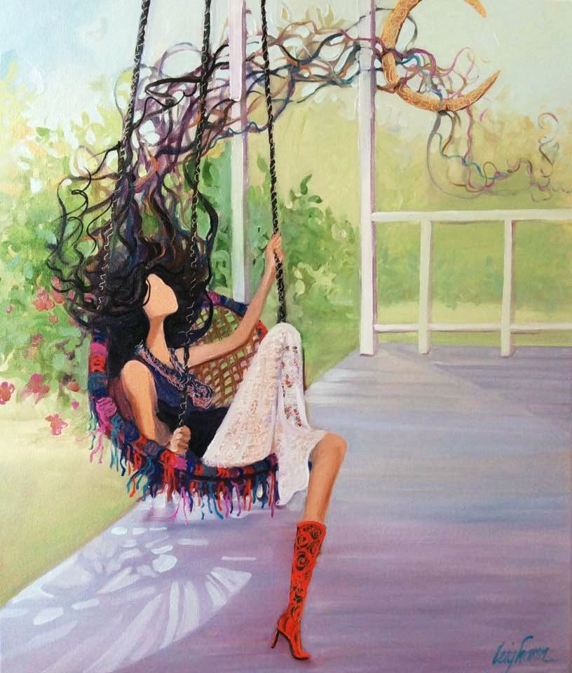 Just Swinging Painting By Moon Bound Girl Creator Leigh Ann Agee Swing Painting Girl Swinging Painting Of Girl