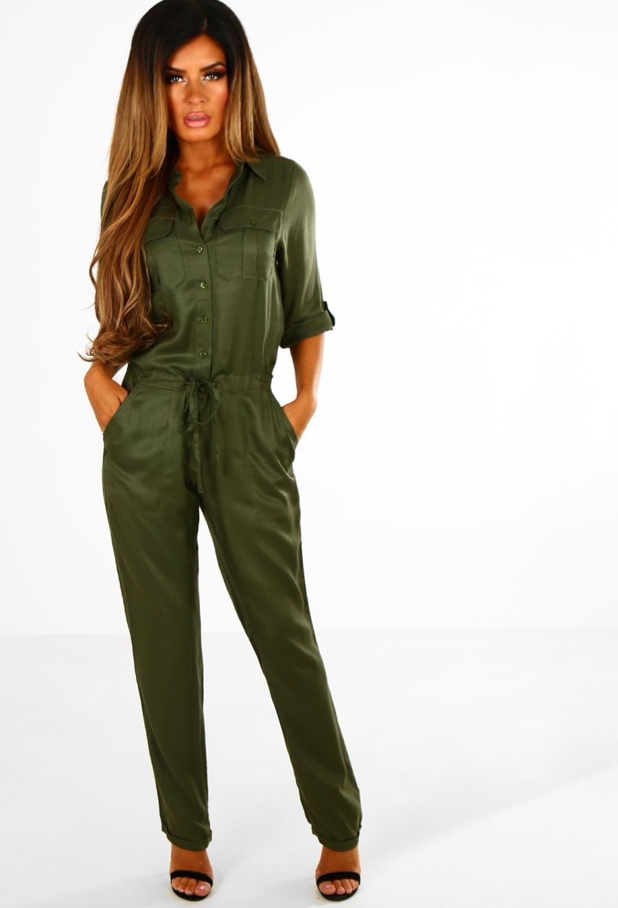 fc8480dd88a5 Persuade Me Khaki Button Up Utility Jumpsuit - 8