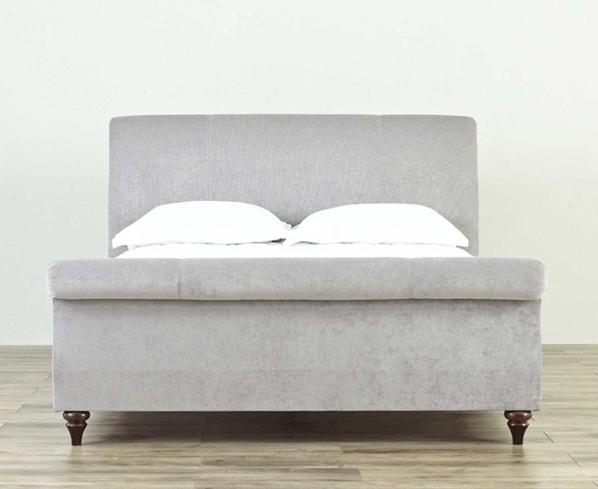 grey upholstered sleigh bed. Upholstered Sleigh Bed Pottery Barn Grey E