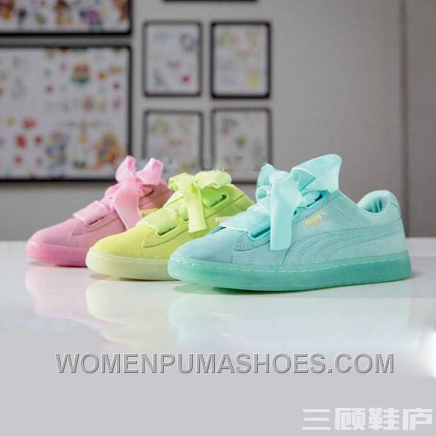 Puma BASKET 363073 Bow Tie Jelly Summer Mint Yellow Pink Online ... de0f2e628bccd