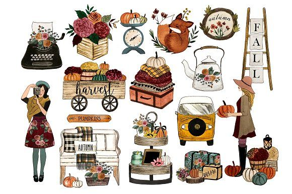 Fall clipart by Rosabebe on @creativemarket