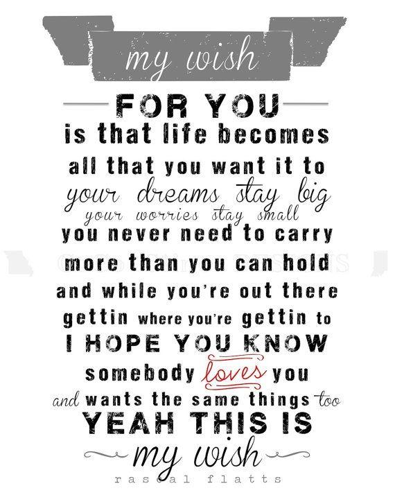 My Wish Print Lyrics by Rascal Flatts by CoCoStineDesigns
