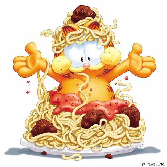 Garfield Eat Spaghetti Garfield Cartoon Garfield Garfield And Odie