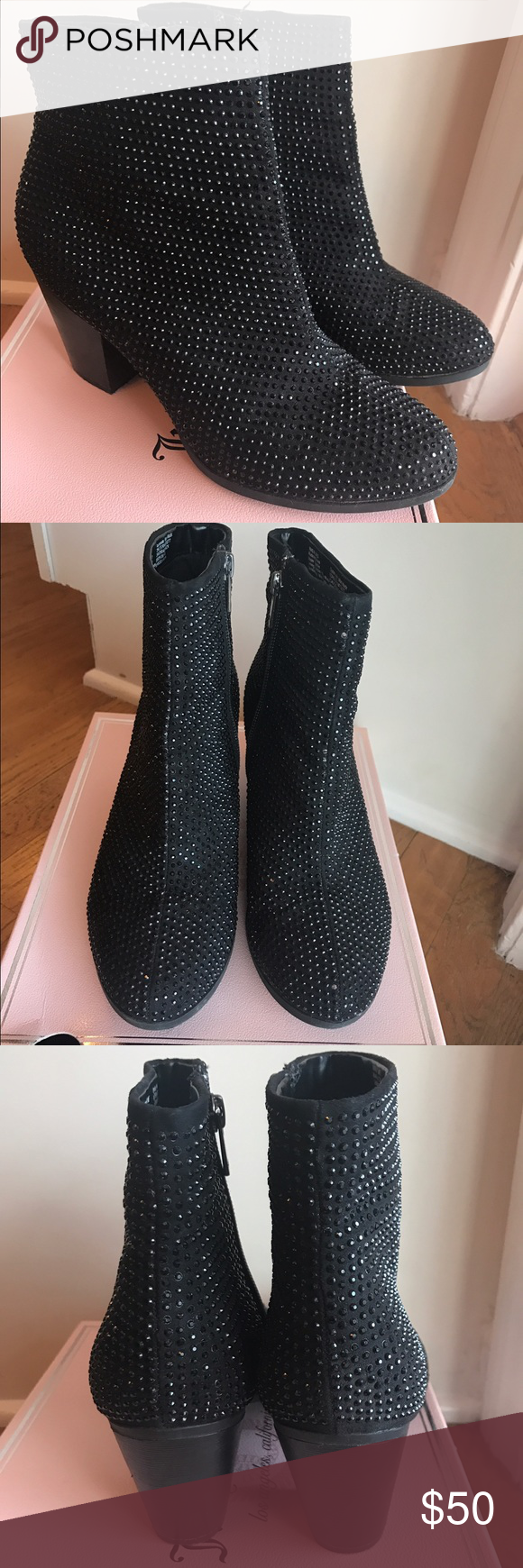 Juicy Couture Bedazzled Rhinstone Black Booties Juicy Couture Bedazzled Rhinestone Black Bootie Heels! These are awesome and they shimmer in the light so pretty. Lightly worn great condition. Microsuede upper, 3 inch heel. Size 8. *NO TRADES* Retail $100 Juicy Couture Shoes Ankle Boots & Booties