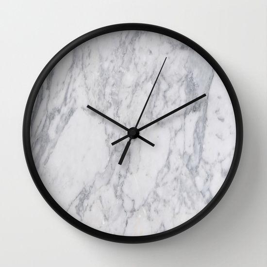 White Marble Wall Clock By Sarah R Bock Wall Clock Marble Decor Clock