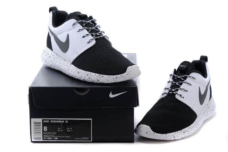 Womens Mens Nike Roshe Run Custom ID Black White BlackRoshe Run
