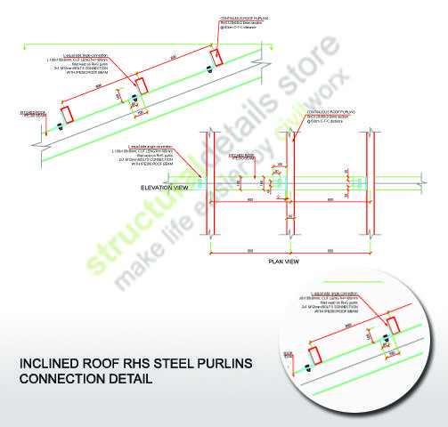 Inclined Roof Rhs Steel Purlins Connection Steel Roofing Roof Beam Roof