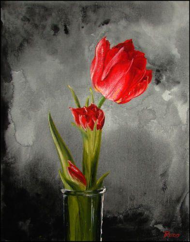 10 Quot X8 Quot Original Art Oil Painting Red Tulip Glass Vase Plant Flower T Ruzin Ideas For Paintings