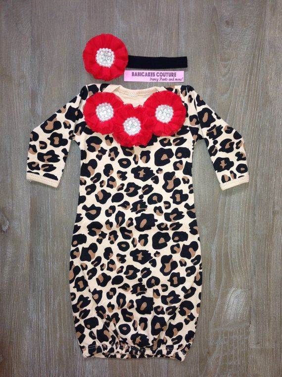 Newborn Girl Take Home Outfit, Leopard and Red Baby Gown & Headband ...