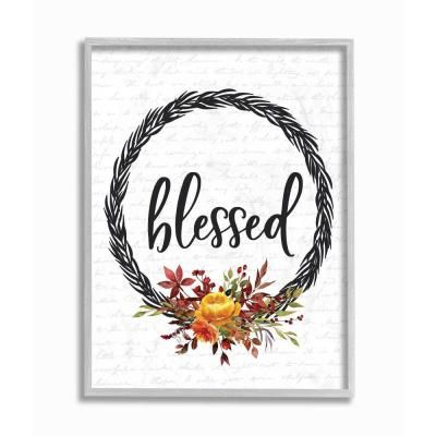 """Photo of Stupell Industries 16 in. X20 in. """""""" Blessed Flower Wreath Autumn Fall Seasonal Design """""""" by Lettered and Lined, Multi-Colored"""