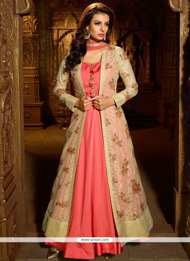 c9c95c1a985 Buy Satin Silk Pink Readymade Suit Online from India at yosari.com . Model   YOS12447