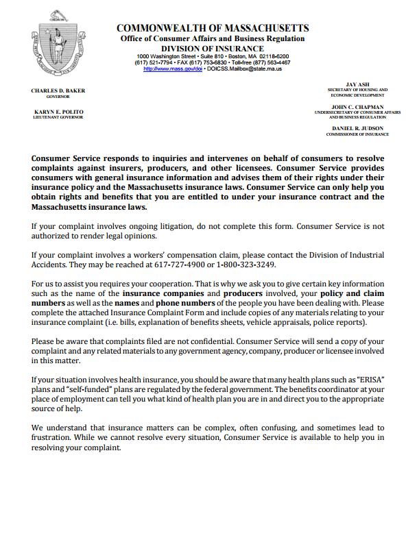 InsuranceCommissionerComplaintsByStateMassachusettsPartOf