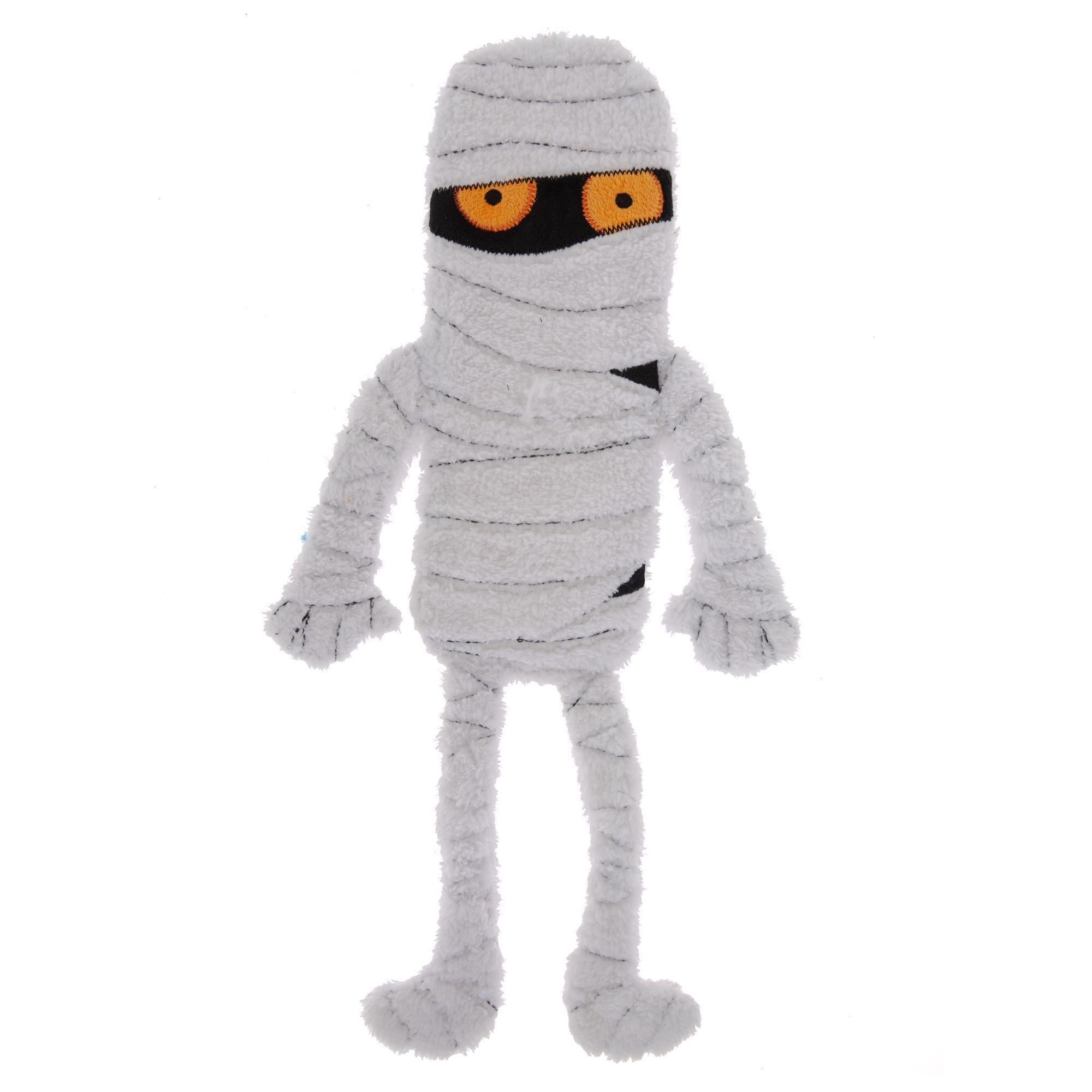 Thrills And Chills Halloween Mummy Flattie Dog Toy Crinkle