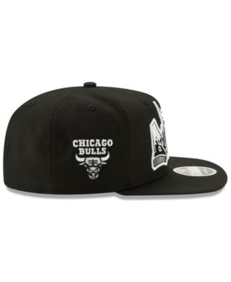 low priced 06798 89f76 New Era Chicago Bulls Retroword Black White 9FIFTY Snapback Cap - Black  Adjustable
