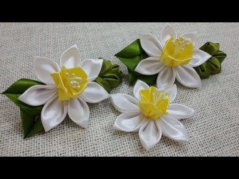▶ D.I.Y. Satin Kanzashi Daffodils Tutorial - YouTube