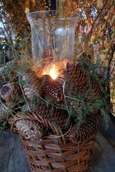 DIY Winter Deko - Selber basteln - Korb mit Zapfen füllen für draussen