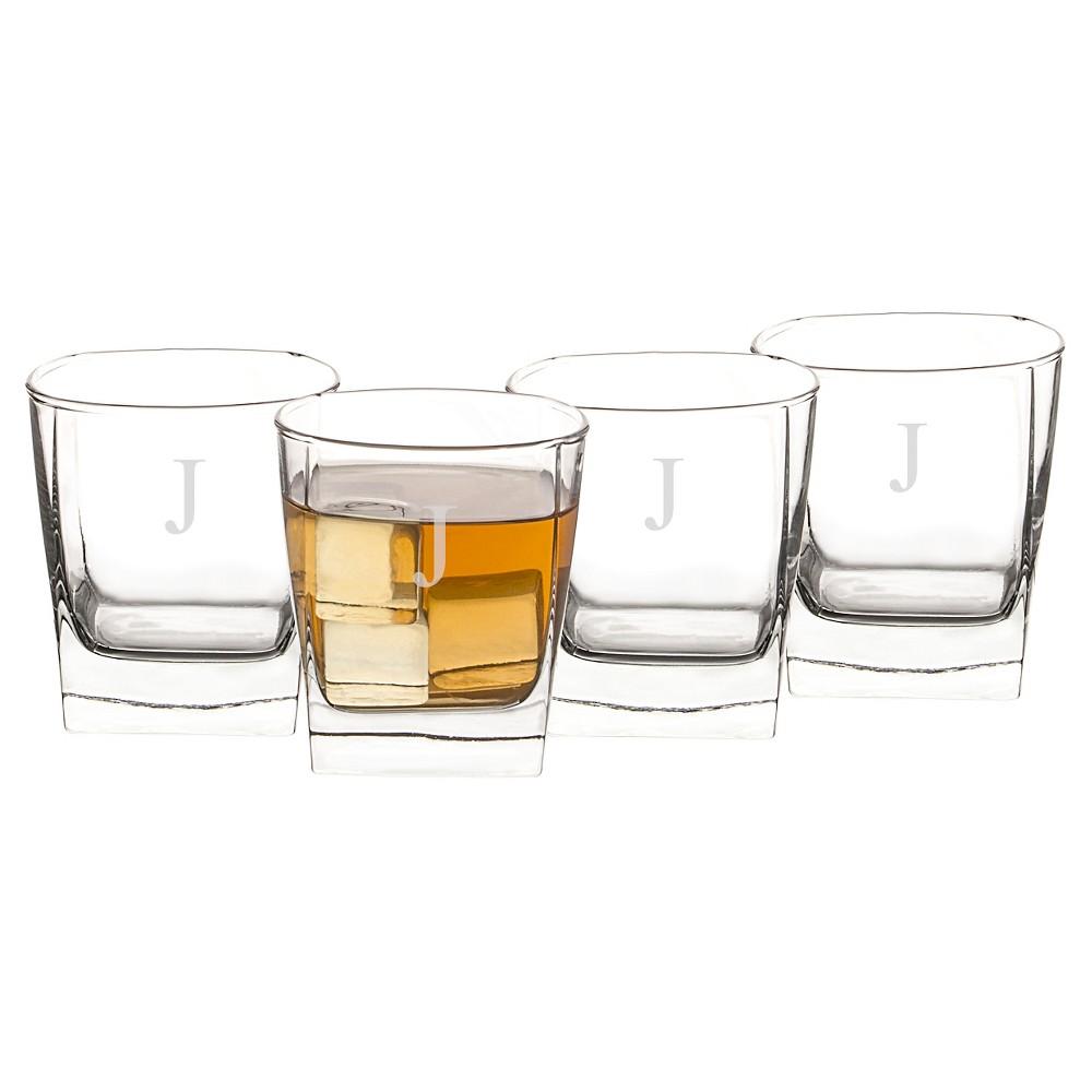 Personalized Monogram Whiskey Glass Set of 4 - K, Clear | Whiskey ...