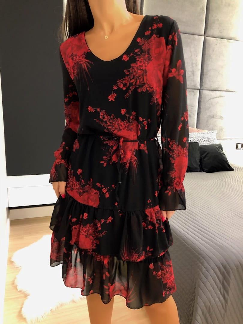 Czarna Sukienka W Kwiaty Z Falbankami 4967 417 Modnakiecka Pl Dresses With Sleeves Dresses Fashion