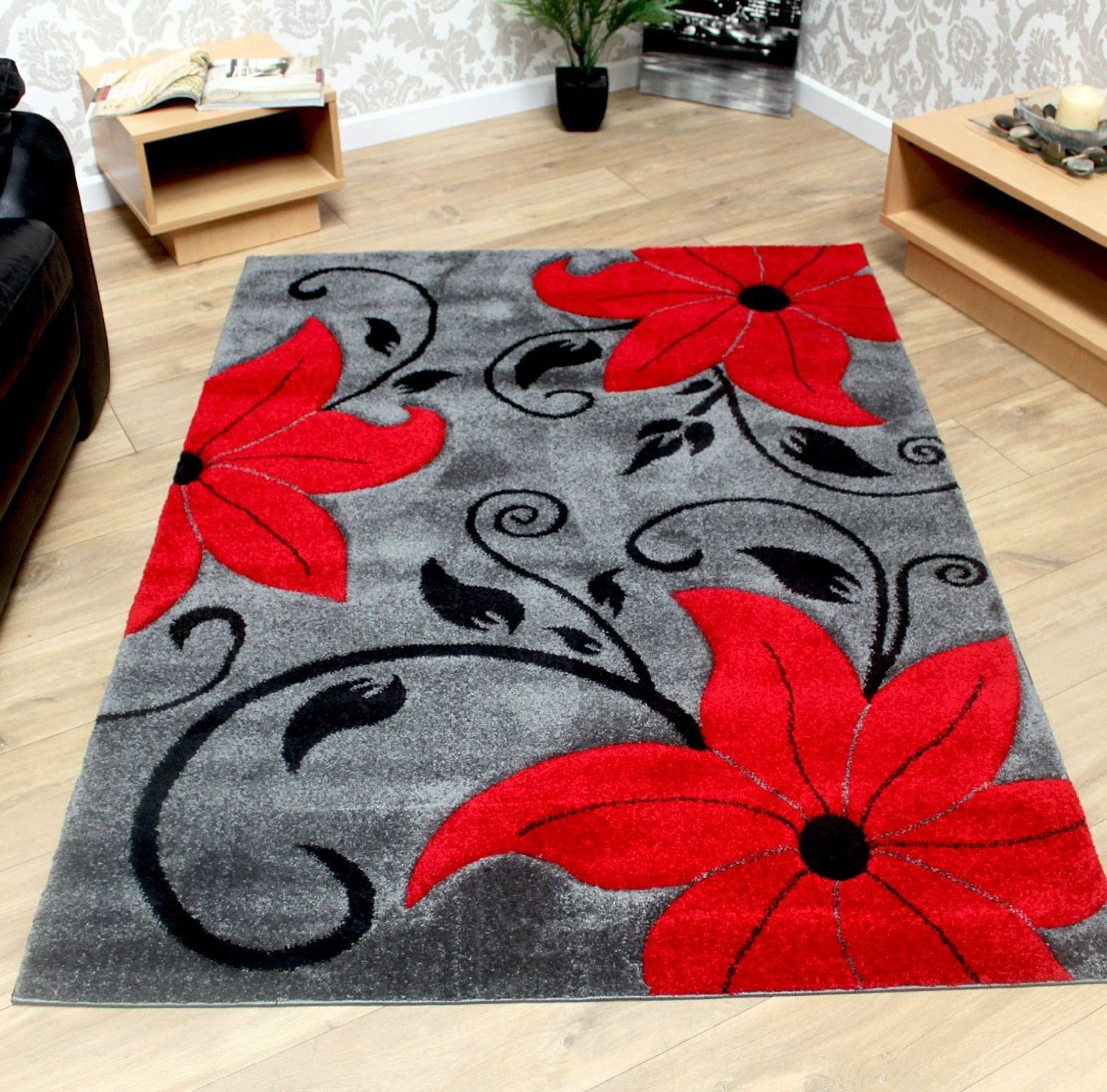 Grey Black and Red Modern Tulip Pattern Flower Rug Sold With a