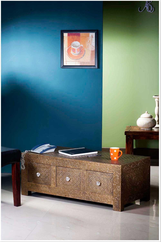 Furniture Shop Store Online Designer Brass Embossed Metal Three Drawer  Coffee Table | Metal