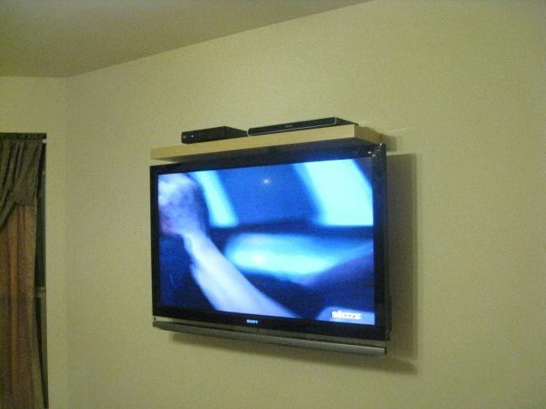 Hdtv Tilt Wall Mount Equipment Shelf Install Above Tv On