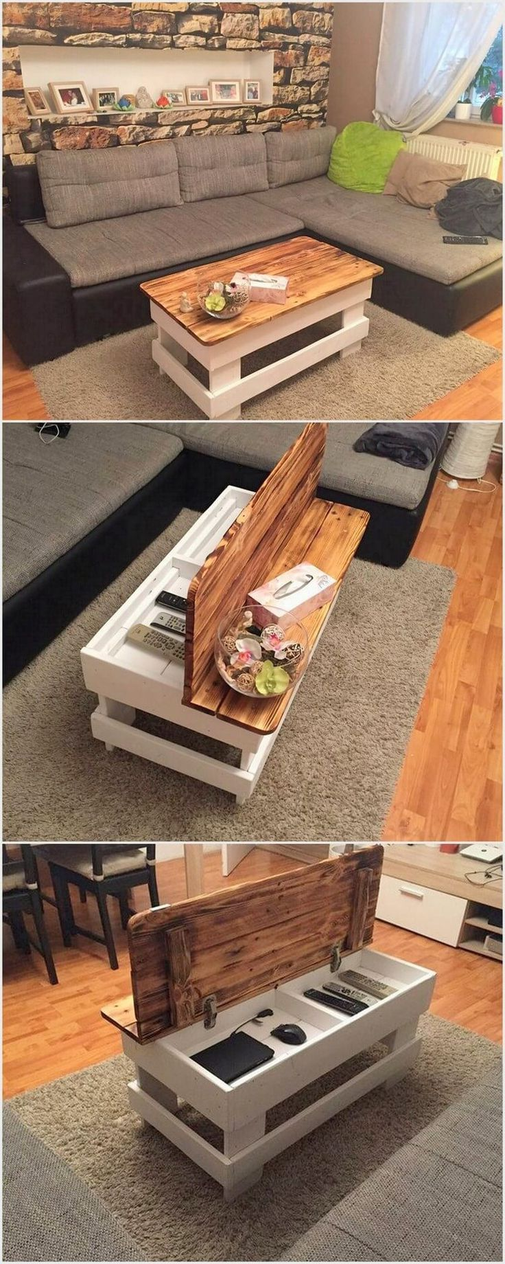Adding The House With The Stylish Wood Pallet Table Along Feature Of Storage In It Is The Utmost Demand Of The Wood Pallet Tables Diy Pallet Furniture Home Diy [ 1840 x 736 Pixel ]