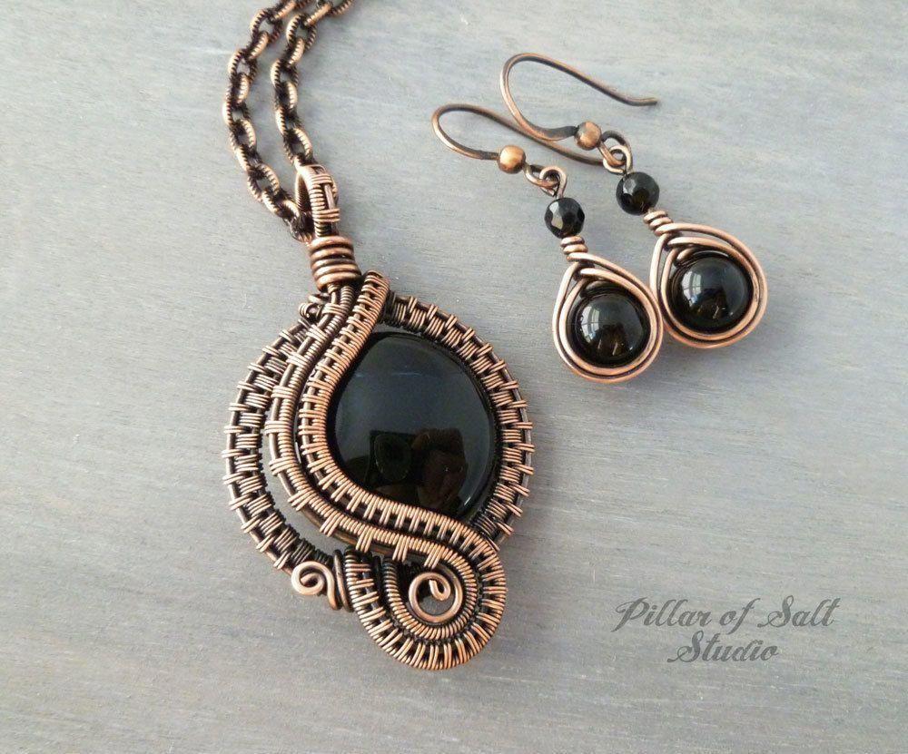 Photo of Black Onyx Wire Wrapped Jewelry Set