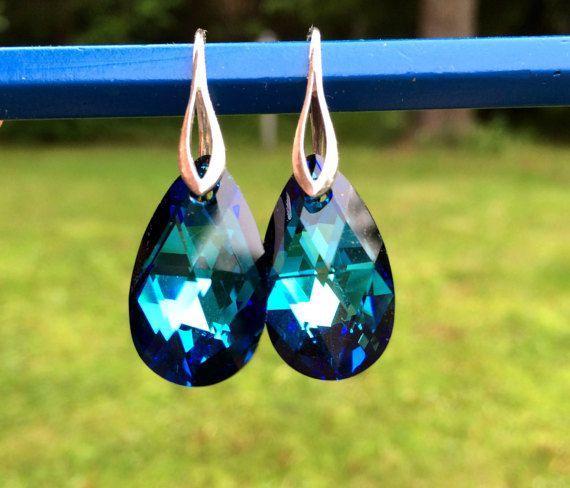 Blue Drop Earrings Bermuda Blue Swarovski Pear by orangewind