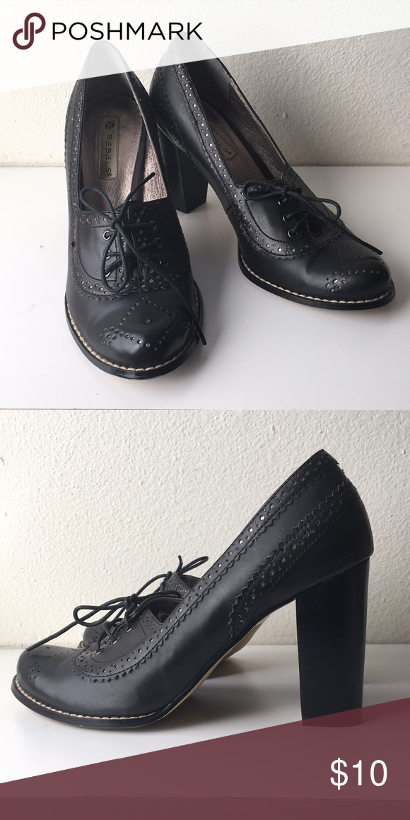 Heeled Oxfords Chunky heeled vintage style Oxfords rebels
