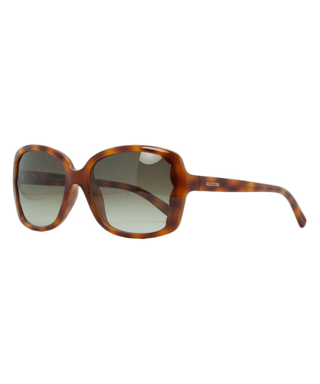 c01f16e7daf4 VALENTINO V 608S 725 Blonde Havana Rectangular Scalopped Sunglasses .   valentino  sunglasses