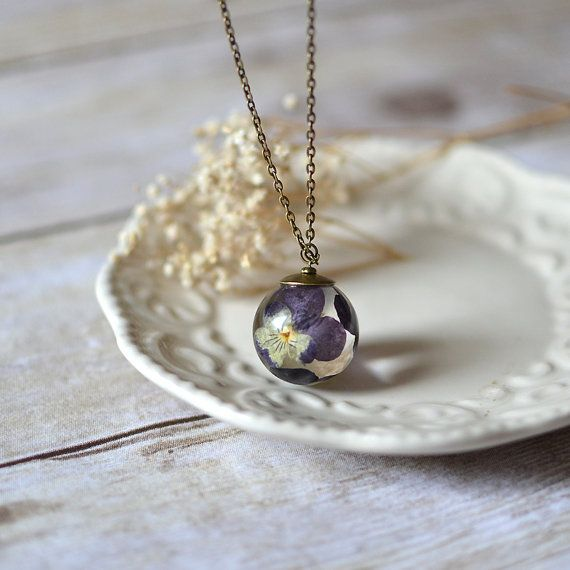 Pansy viola flower necklace resin jewelry clear orb sphere pansy viola flower necklace resin jewelry clear orb sphere necklace pressed flower nature inspired jewelry mozeypictures Images