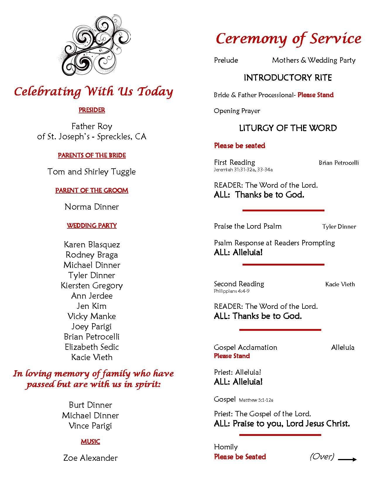 Catholic Wedding Ceremony Program Sample Page 2 Inside Of