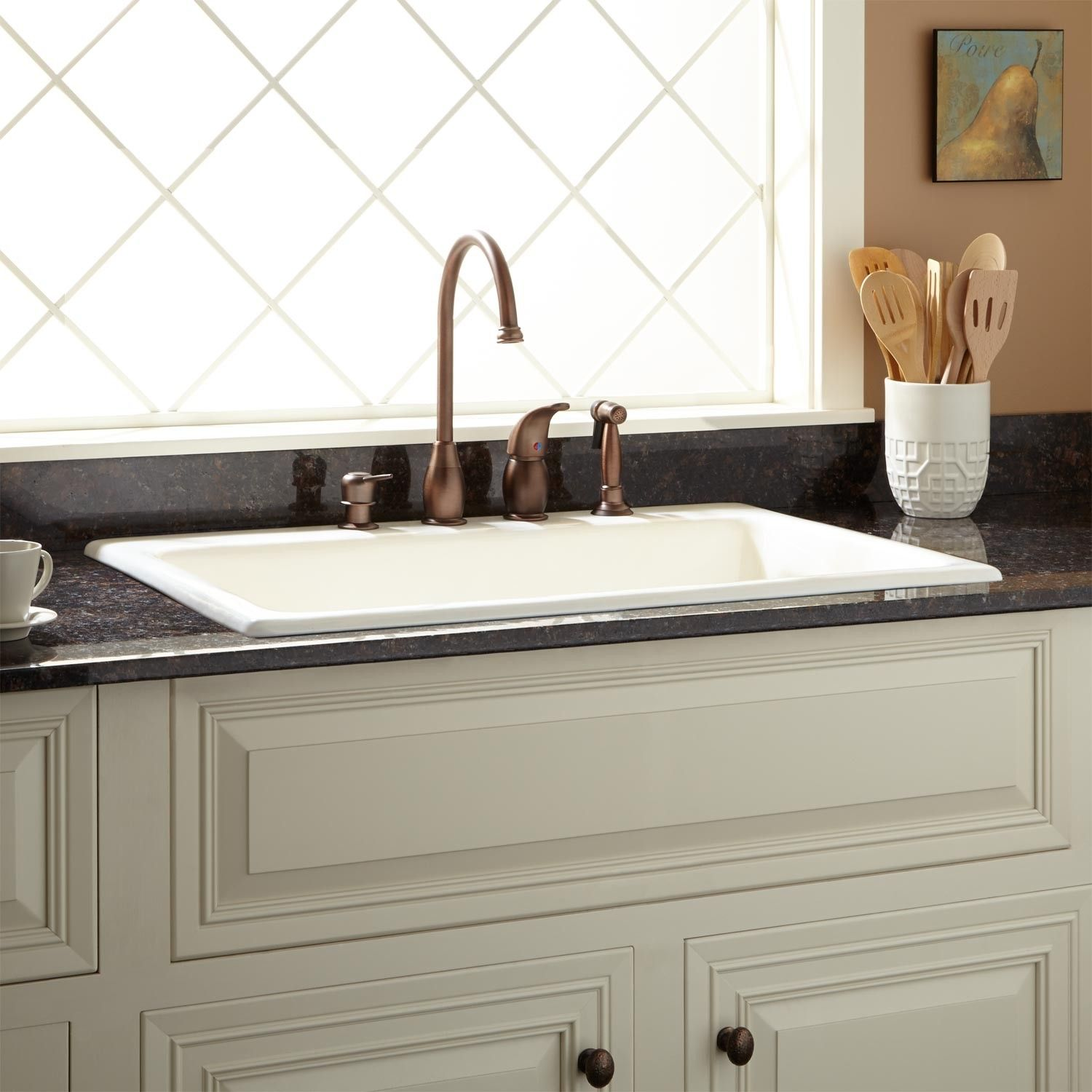 33 Palazzo Cast Iron Drop In Kitchen Sink White To Do Kitchen