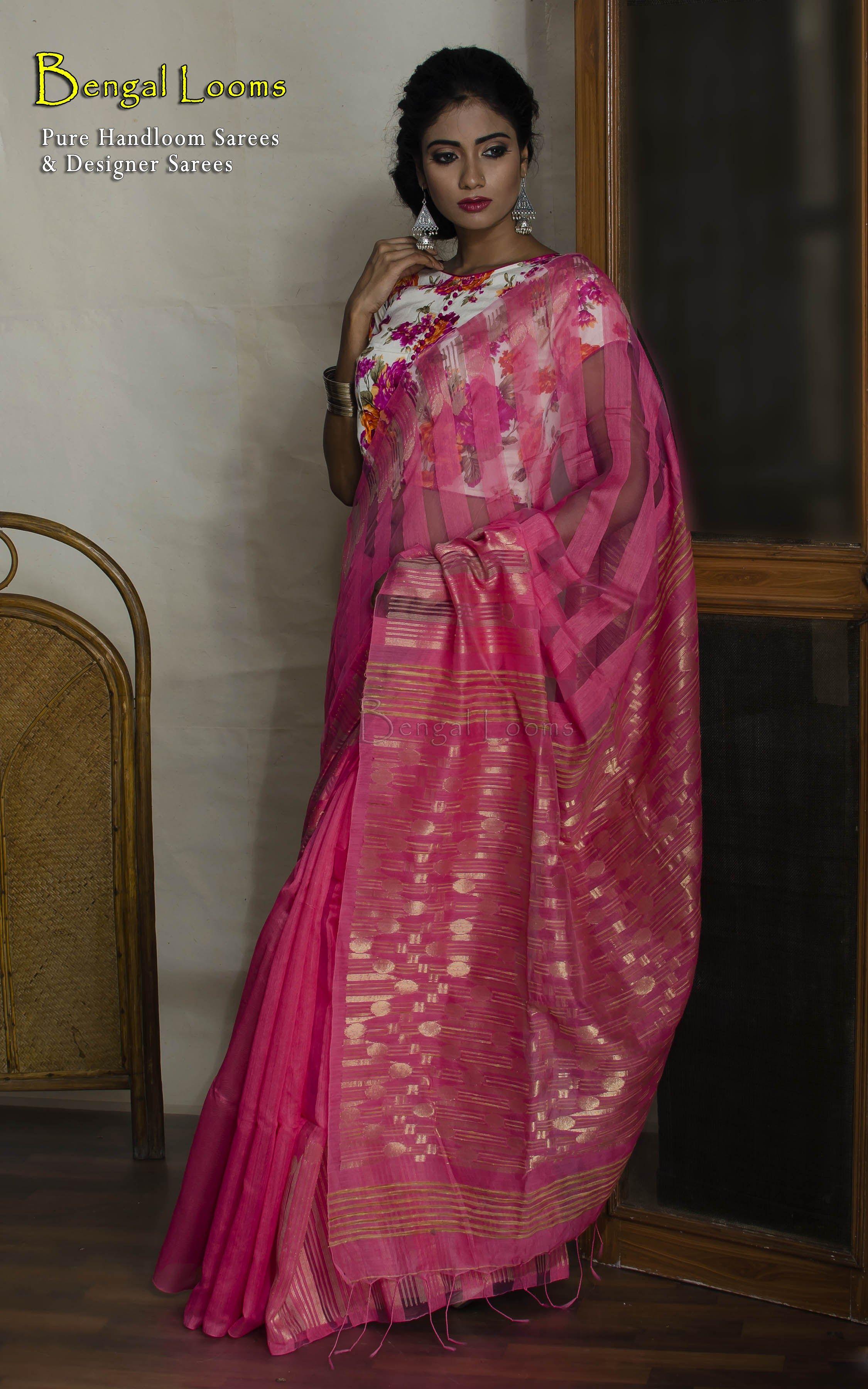 SHOP AT : www.bengallooms.com  This is a #Pure #Handmade #Khadi #ReshamSilk #Saree from #BengalLooms.