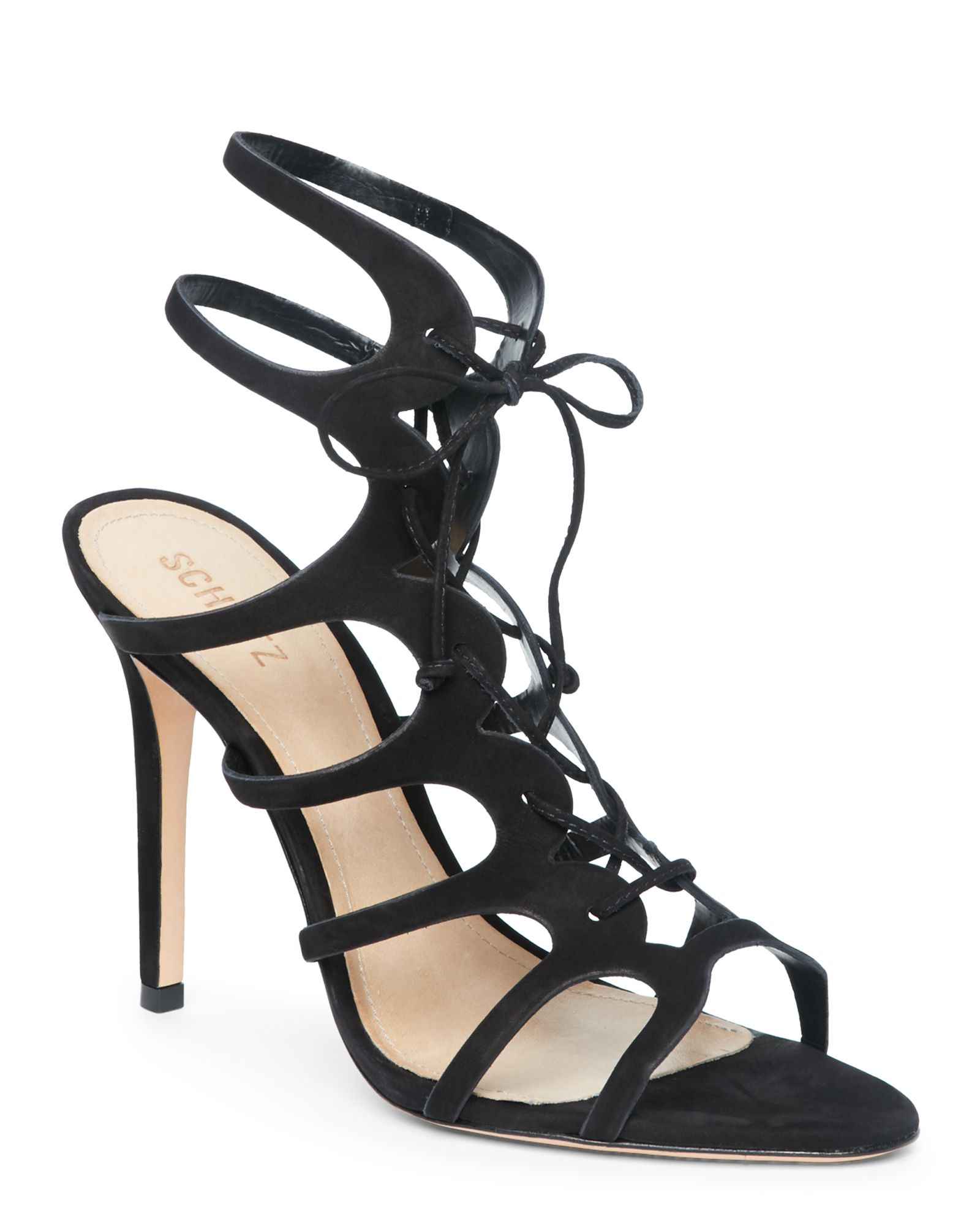 Schutz Black Laurine High Heel Lace-Up Sandals