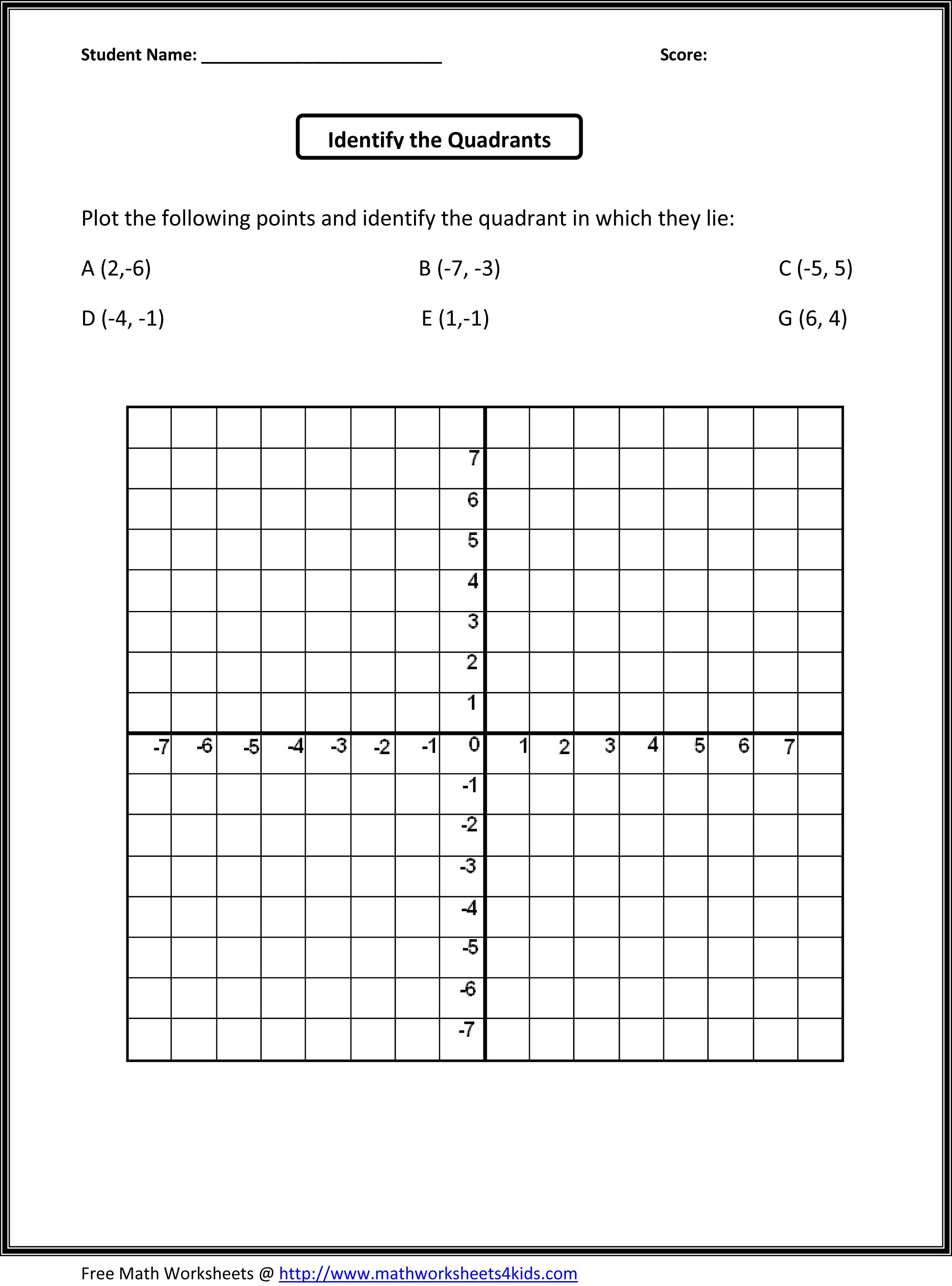 worksheet Single Quadrant Ordered Pairs 5th grade math worksheet school pinterest worksheets worksheet