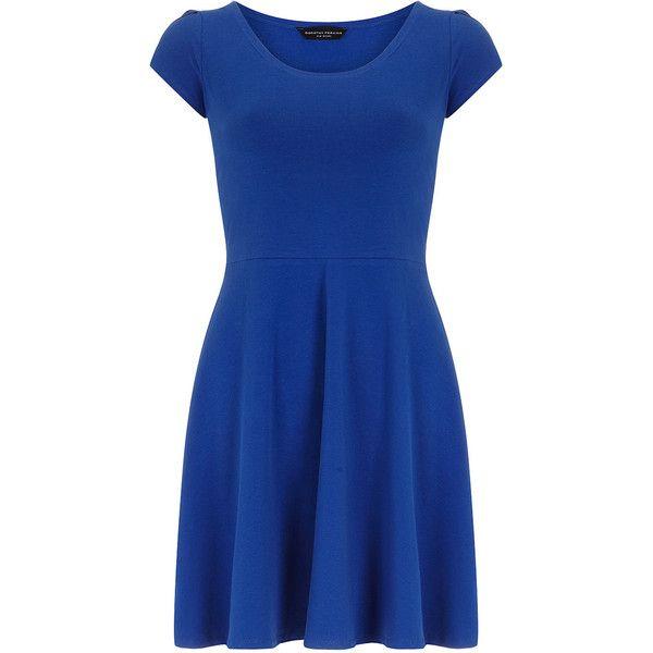 Cobalt petal sleeve dress (€25) ❤ liked on Polyvore featuring dresses, vestidos, cobalt, fit flare dress, petal dress, blue short sleeve dress, short sleeve dress and scoop neck fit and flare dress