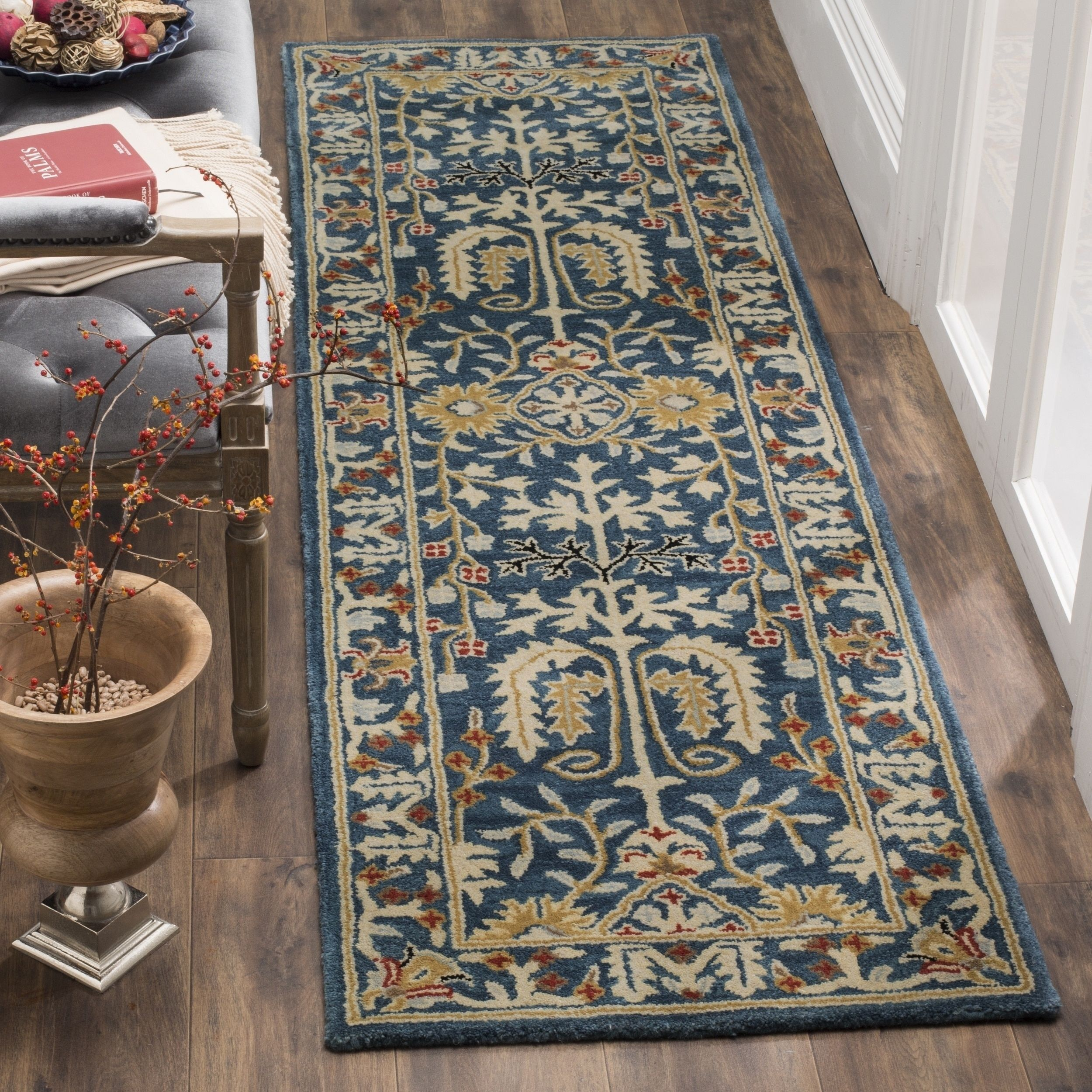 Safavieh Antiquity Hand Woven Wool Dark Blue Multi Area Rug Runner 2 3 X 12 At64b 212 Size