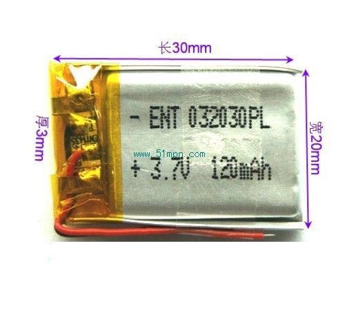 $6.00 (Buy here: http://appdeal.ru/6f7u ) 2014 Universal small appliances toys thin lithium polymer battery 032030 120mAh battery quality for just $6.00
