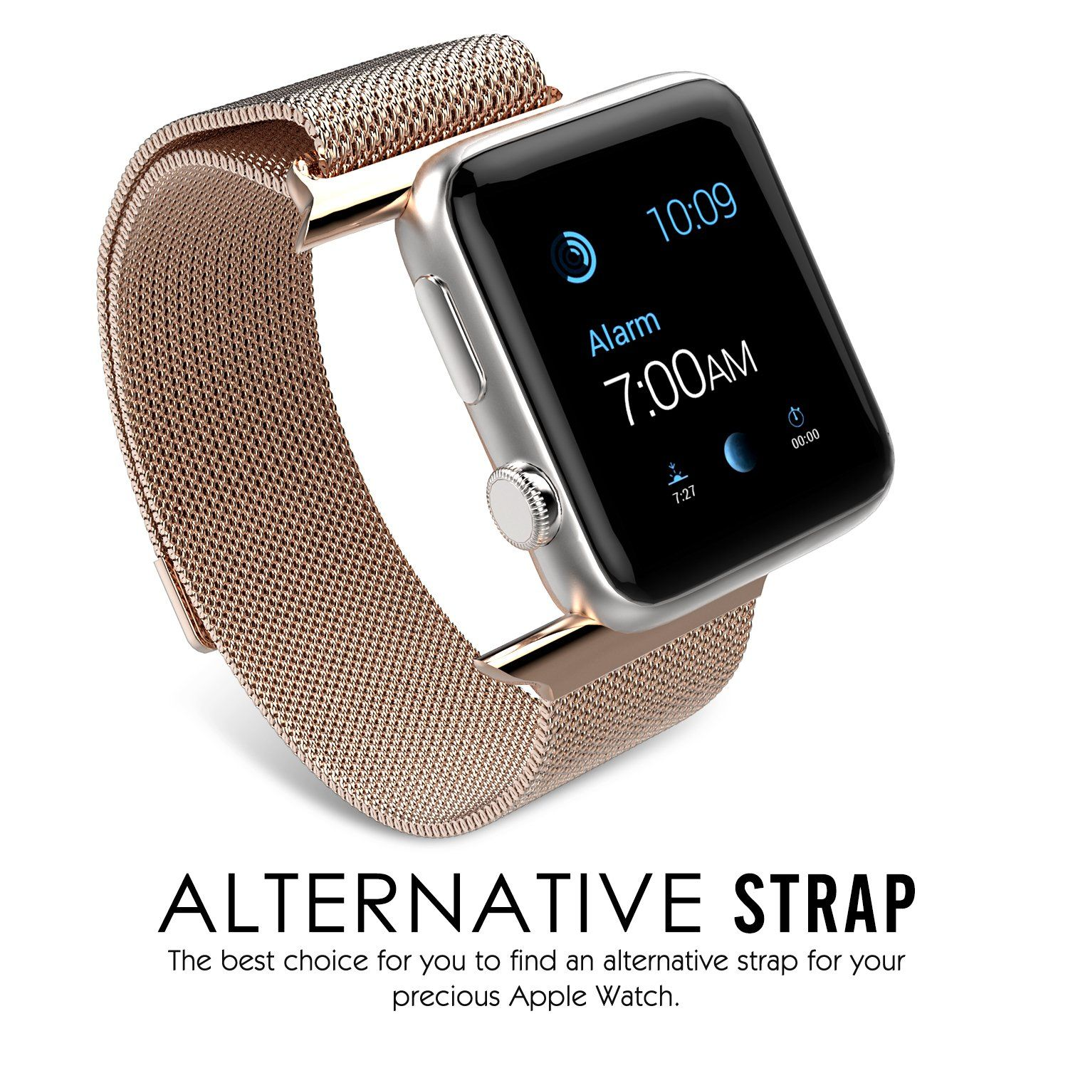 Amazon.com: Apple Watch Band, MoKo Milanese Loop Stainless Steel Bracelet Smart Watch Strap for iWatch 38mm All Models with Unique Magnet Lock, No Buckle Needed - Rose GOLD (Not Fit iWatch 42mm Version 2015): Cell Phones & Accessories