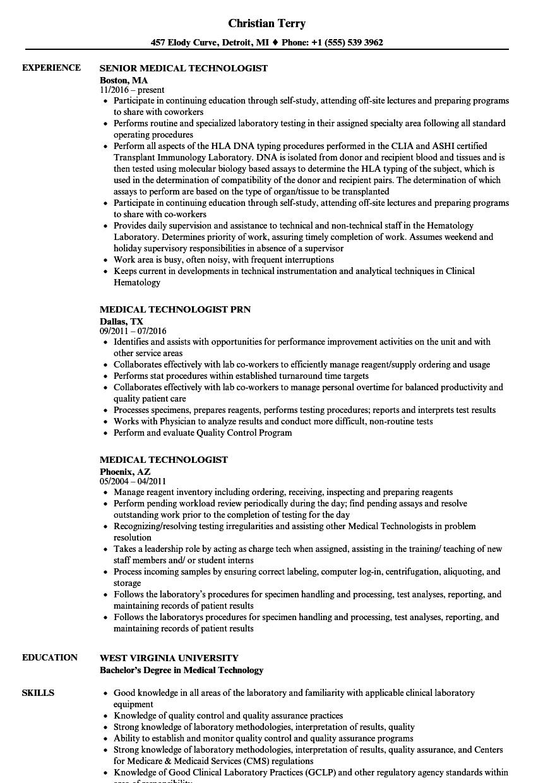 Medical Technologist Resume Samples Velvet Jobs Marketing Resume Resume Examples Manager Resume