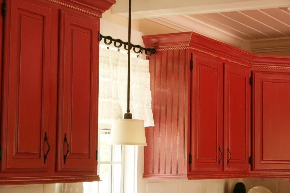 Painted Red Kitchen Cabinets Pictures On Paint Jobs Kitchen