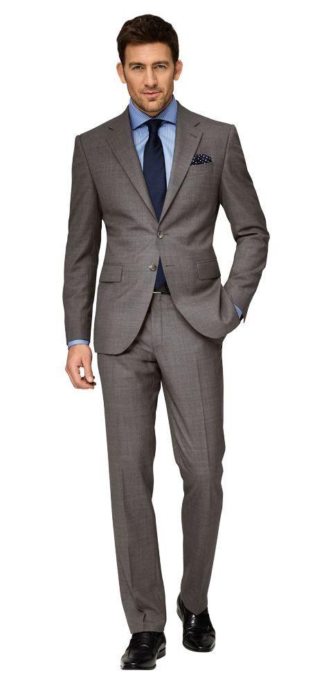 dolzer man grauer anzug mit blauem hemd herren outfit. Black Bedroom Furniture Sets. Home Design Ideas
