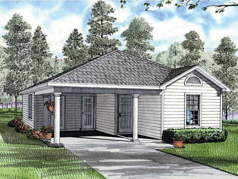 Ranch Style 1 story 3 bedrooms(s) House Plan with 1070 total square feet and 2 Full Bathroom(s) from Dream Home Source House Plans